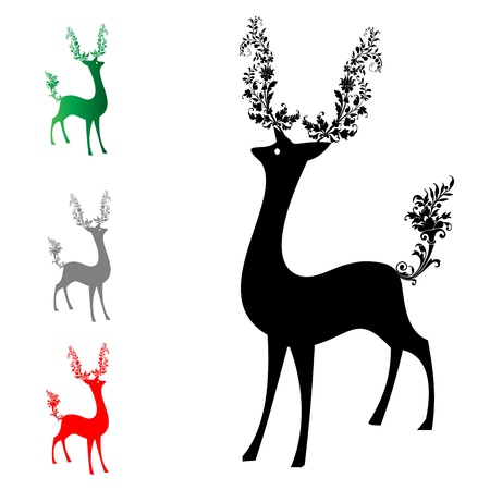 He and tail deer adorned with a bouquet of flowers Stock Vector - 16154653