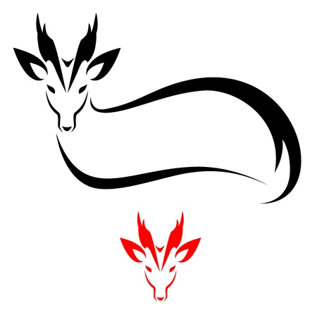 barking: Silhouette Fea di Barking Deer su sfondo bianco