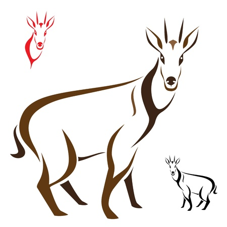 Silhouette goral on white background Vector