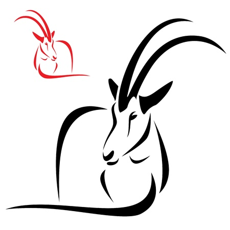 mountain goats: Silhouette goral on white background Illustration