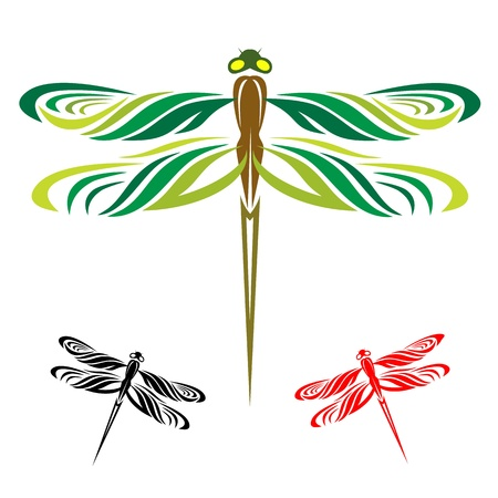 Dragonflies are three wings on a white background Vector