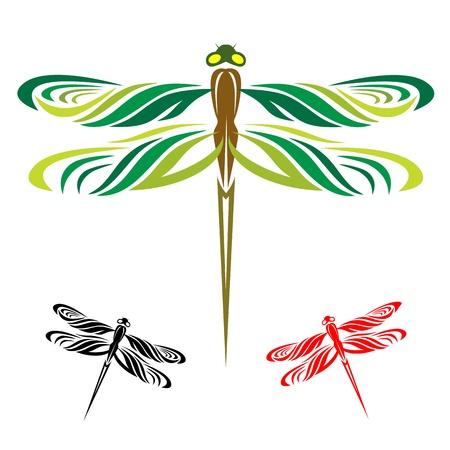 Le libellule sono tre ali su uno sfondo bianco Vettoriali