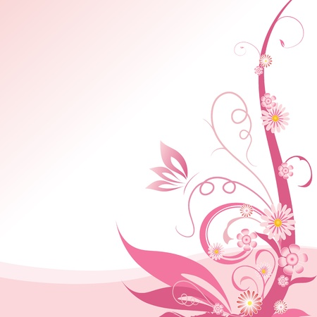 Pink floral corner design element Vector