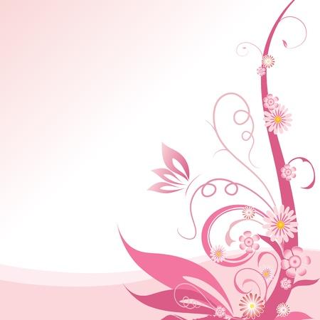 virágzó: Pink virágos sarok design elem Illusztráció