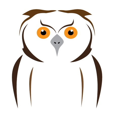 vector brown owl on a white background Vector