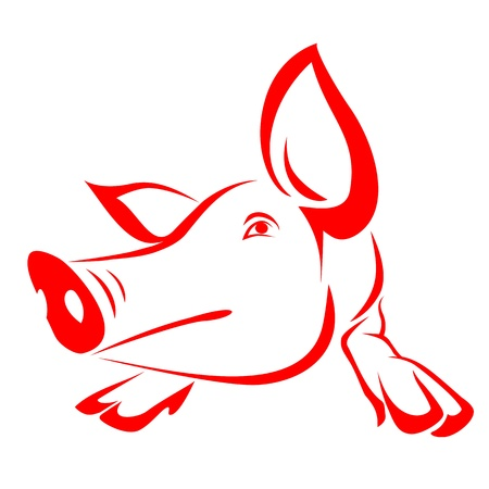 cute pig: Red pig on a white background - vector Illustration