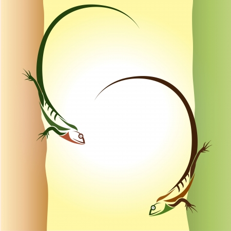 Lizard two climbers on the wall - vector Stock Vector - 16361710