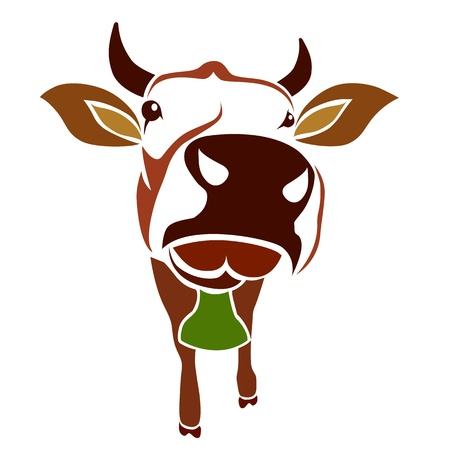 cow head: Brown cow on a white background - vector