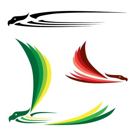 pajaro  dibujo: Pájaro aislada resumen en fondo blanco, vector Vectores