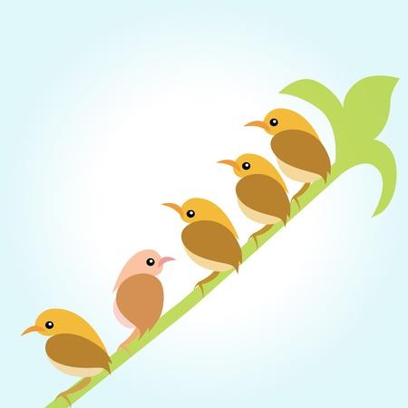 Birds on the branches green Stock Vector - 16452965