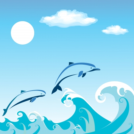 Two dolphins jumping in the water Vector