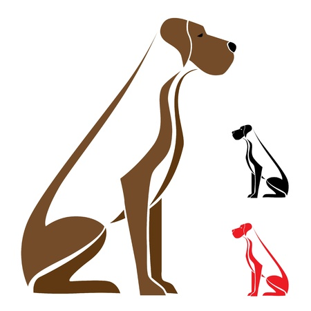 Hond zit op een witte achtergrond - vector