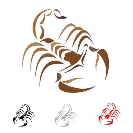 cartoon scorpion: Tattoo in the form of the stylized scorpion Illustration