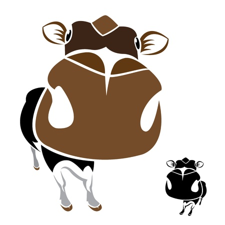 image of an cow on a white background Vector
