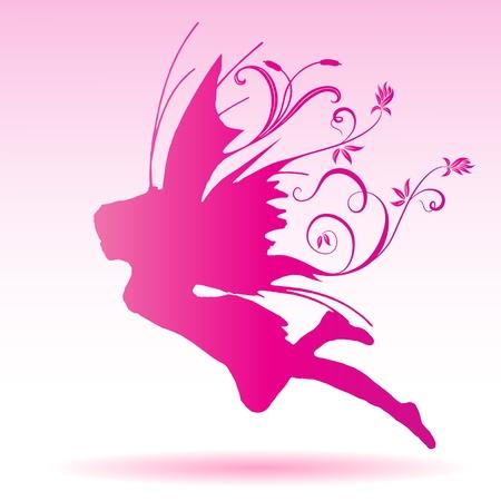 Silhouette Illustration Vecteur de fée sur la conception de modèle de fleur