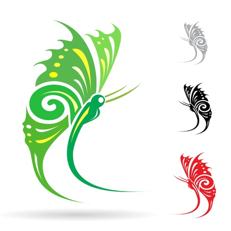 colorful butterflies on white background for design  Vector