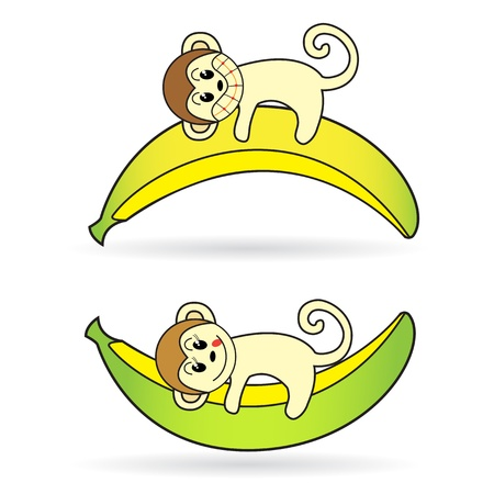 Little monkey holding a banana lying Vector