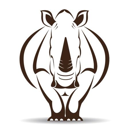 image d'un rhinocéros sur fond blanc Vecteurs