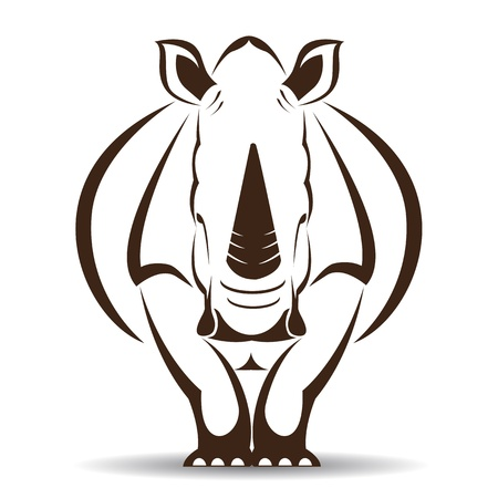 image of an rhino on white background Vector