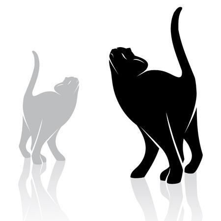 silhouette chat: l'image d'un chat sur fond blanc Illustration