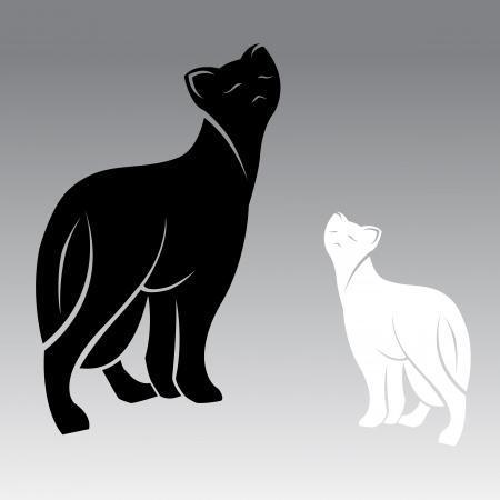 walking on hands: image of an cat, illustration Illustration