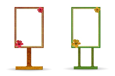 Sign board made from recycled wood stick with flowers on a white background photo