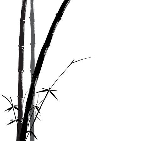 japones bambu: Dibujado a mano ilustraci�n de una silueta de bamb� negro sobre un fondo blanco.