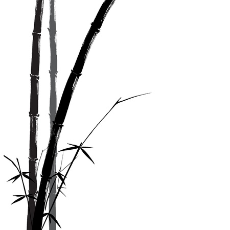 bamboo leaves: Hand drawn illustration of a bamboo black silhouette against a white background.