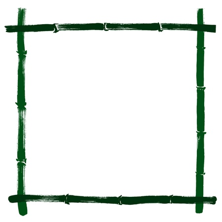 chinese frame: Hand drawn illustration of a bamboo frame on white background
