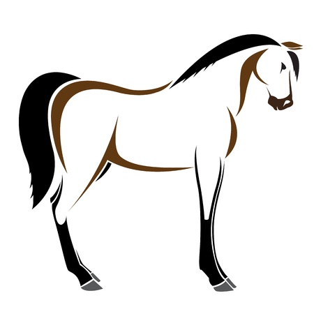 harness:  image of an horse on white background  Illustration