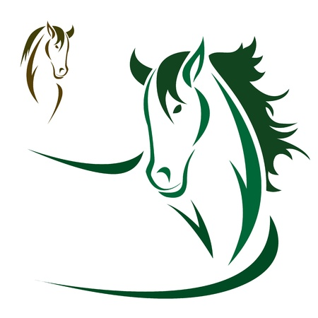 horse running: Vector head of horse on a white background
