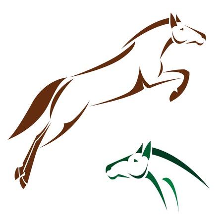 caballos negros: Vector imagen de un caballo sobre fondo blanco