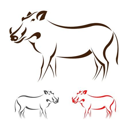 sanglier: image d'un sanglier sur fond blanc Illustration