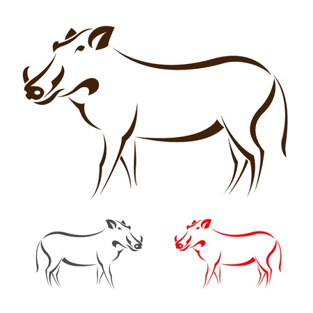 image of an boar on white background  Vector