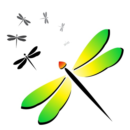 paper flying: Vector image of an dragonfly on a white background