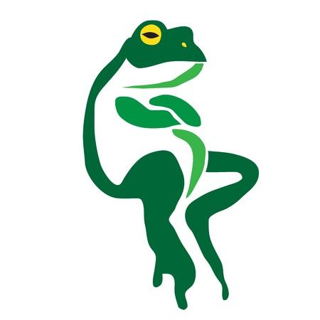 rana caricatura: Vector de imagen de una rana sobre un fondo blanco