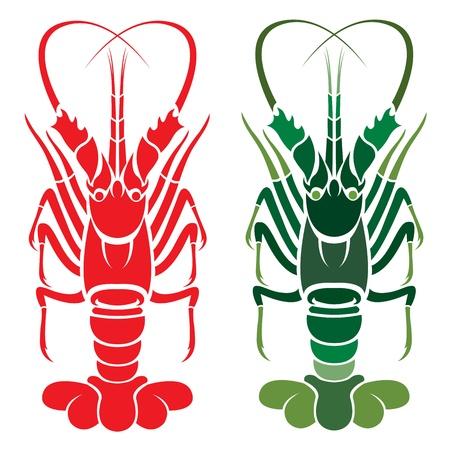 lobster: 흰색 배경에 가재 일러스트