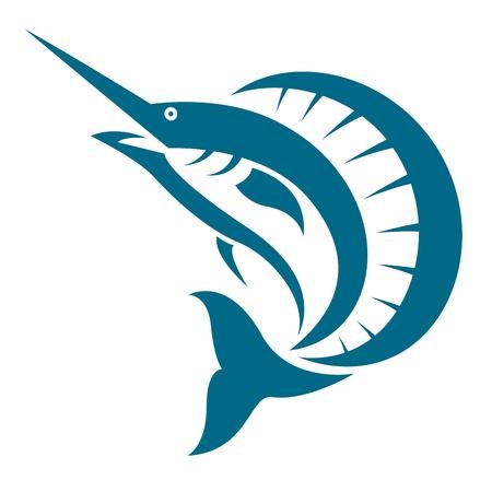 sailfish: un pesce vela su sfondo bianco Vettoriali