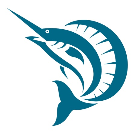 pez espada: un pez vela en el fondo blanco Vectores