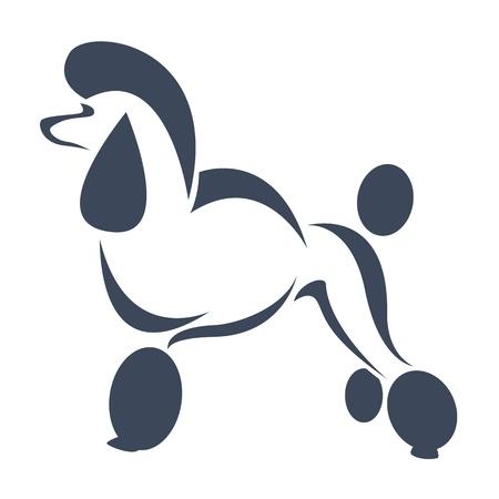 un caniche perro sobre fondo blanco Ilustración de vector