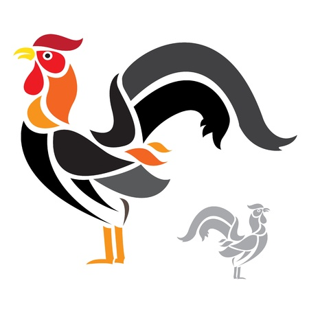 chicken wing:  cock on white background  Illustration