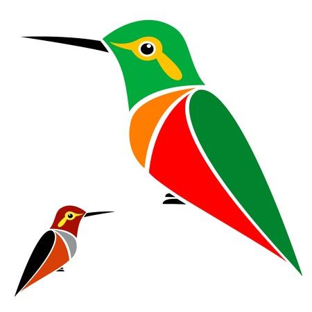 birds of paradise:  hummingbird on white background  Illustration