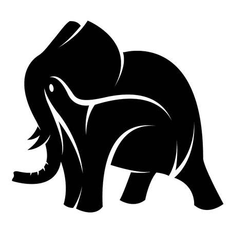 image of an elephant on a white background Vector