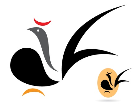 cockerel: Vector image of an cock on white background