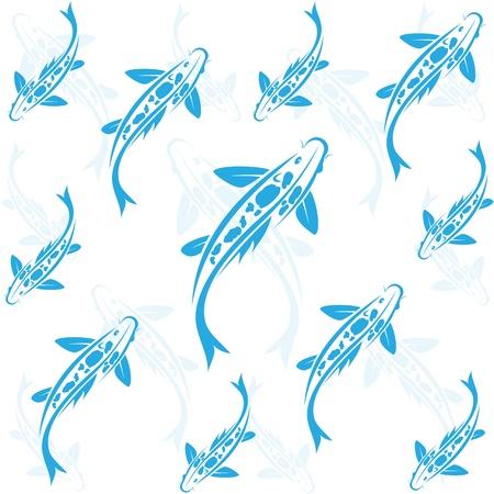 swimming carp: Seamless wallpaper carp koi.