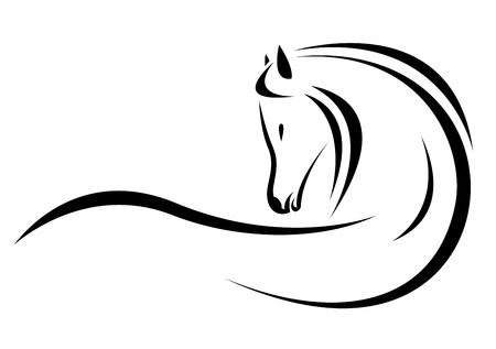 horseback: head of horse on a white background Illustration