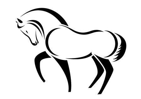 paddock: head of horse on a white background Illustration