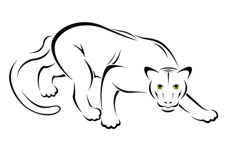 panther: illustration of panther symbol - tattoo