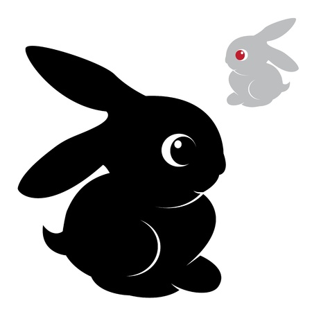 bunny xmas: Vector image of an rabbit on white background