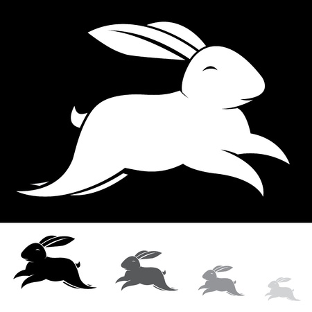 fluffy ears: Vector image of an rabbit on white background
